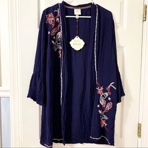 Knox Rose Navy Blue Embroidered Cover-Up NWT
